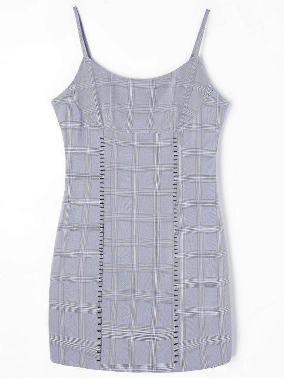 Kariertes Mini-Slip-Kleid - Grau XL