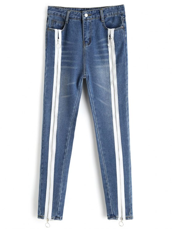 Bleach Wash Skinny Zipper Jeans - Denim Blue M