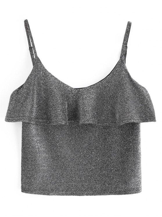 Cami Glänzendes Rüschen Tank Top - Silber Eine Größe