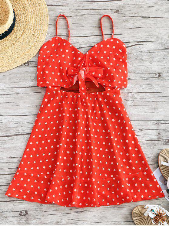 Riemen Stern ausgeschnitten Rüschen Mini Kleid - Rot S