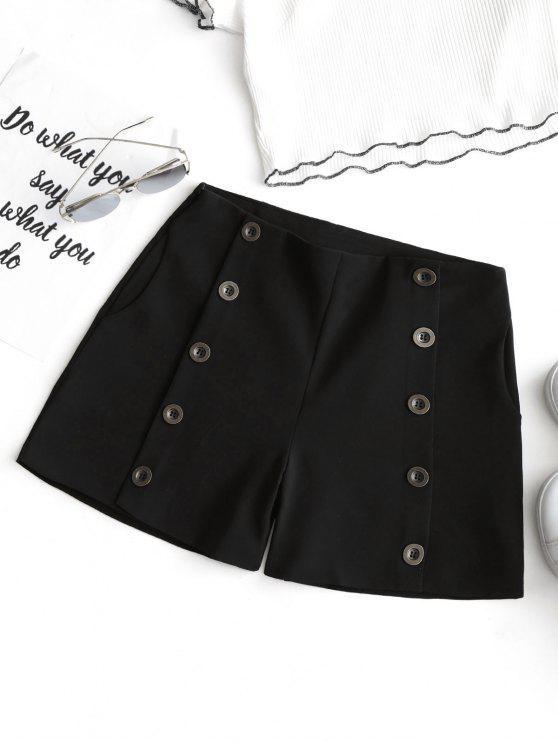 Hohe Taille Knopf verziert Shorts - Schwarz M