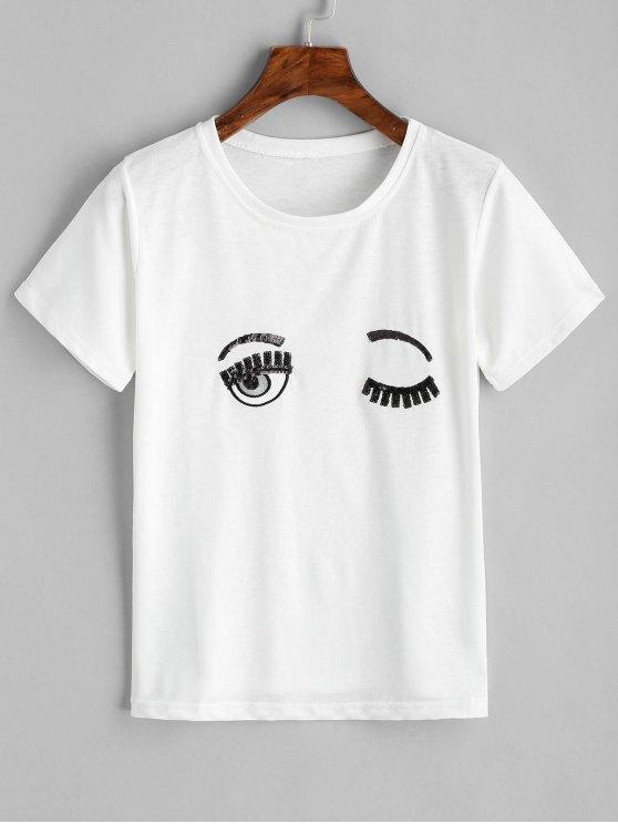Top de lantejoulas bordadas de olhos - Branco XL