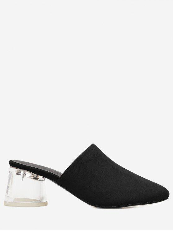 fancy Lucid Block Heel Mules Shoes - BLACK 40