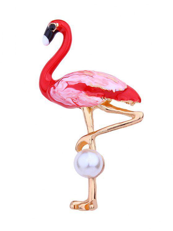 Broche en flamant rose ornée de perles artificielles - Rouge