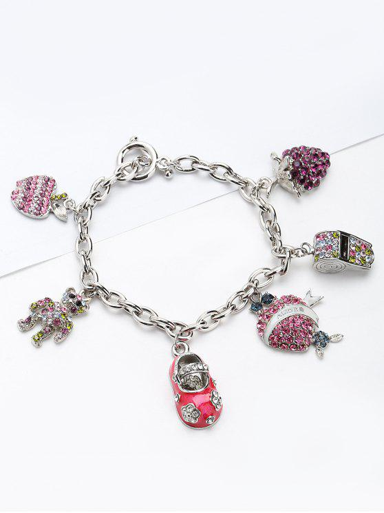 women's Rhinestone Whistling Bear Grape Charm Bracelet - PINK