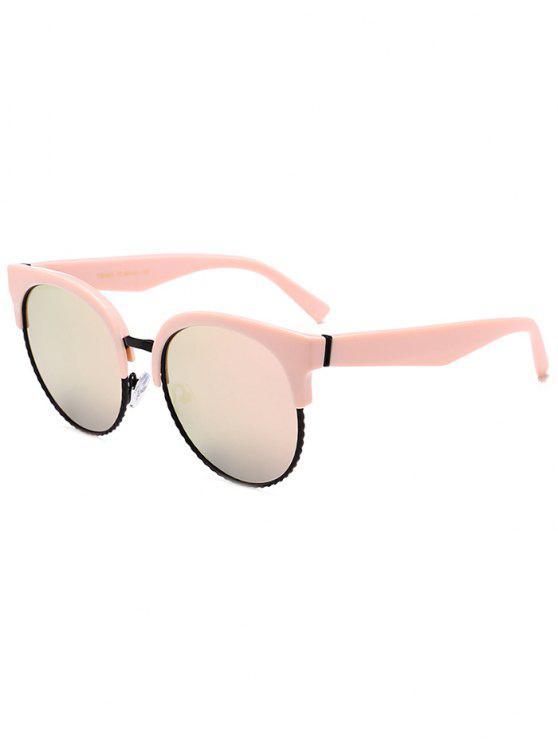 Gafas de sol de ojo de gato Round Circle únicas - Marco Rosado + Lente Rosada
