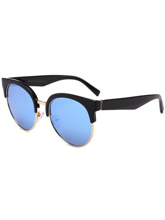 Einzigartige Runde Circle Cat Eye Sonnenbrille - Schwarz+Blau