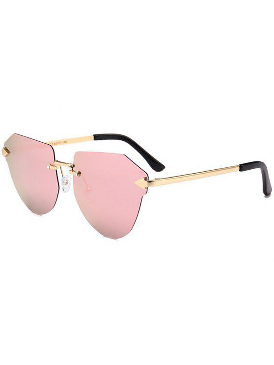 نظارات شمسية بدون إطار - جلود الإطار + عدسه الوردي