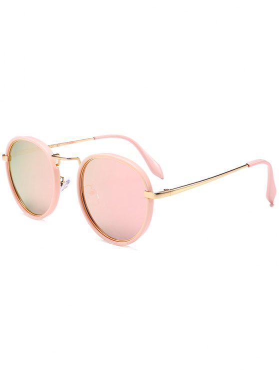 2019 occhiali da sole tondi tutti cerchiati in metallo di cornice rosa specchio rosa zaful it - Occhiali a specchio rosa ...