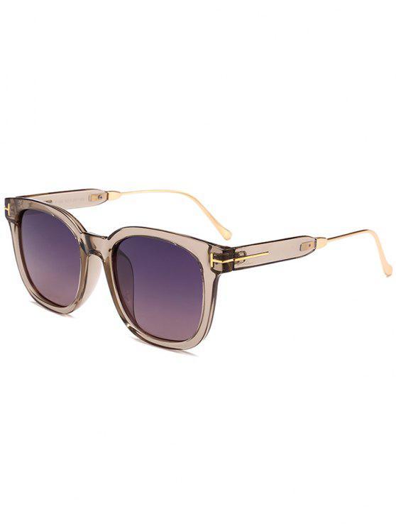 نظارات شمسية بإطار بسيط - الإطار الفضي + بني داكن عدسة
