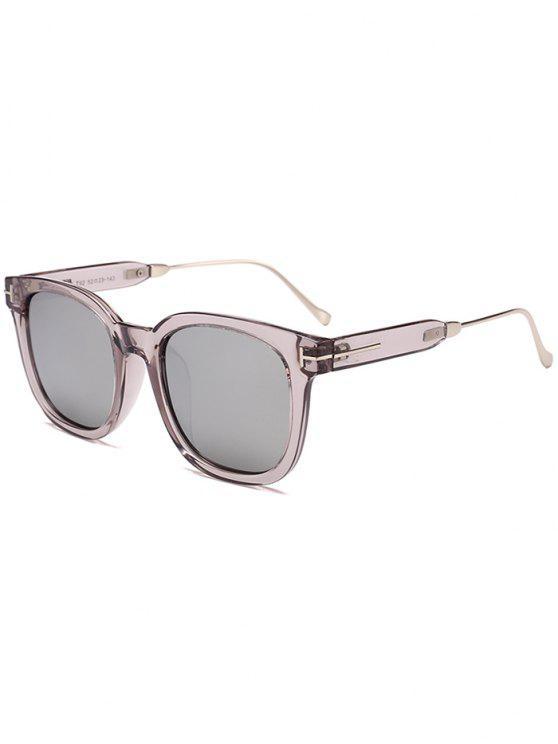 نظارات شمسية بإطار بسيط - يعكس اللون الأبيض