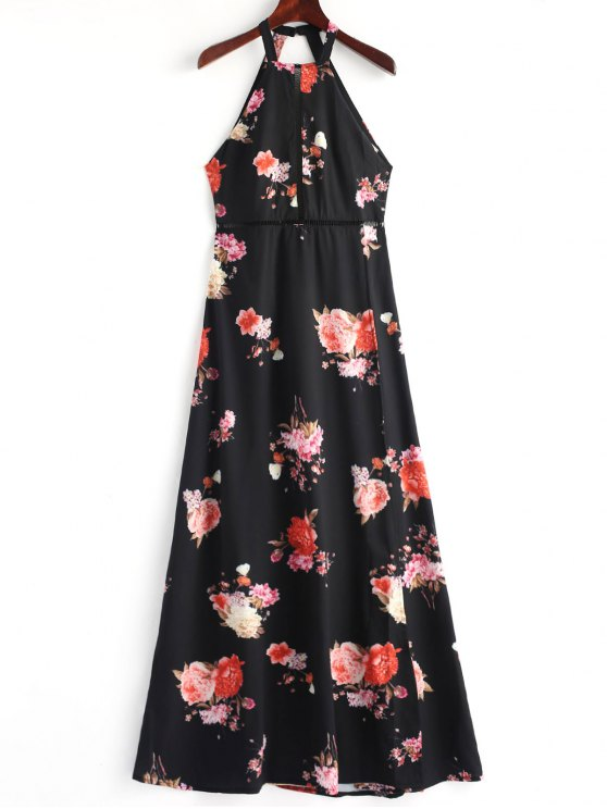 Floral Open Back Slit Maxi Dress - Preto L