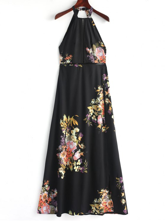 fashion Slit Eyelet Open Back Maxi Dress - BLACK L