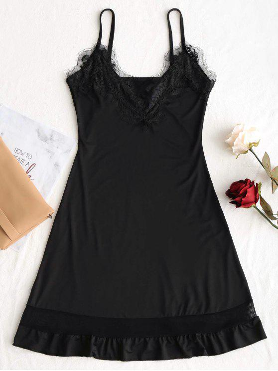 Ruffle Lace Panel Slip Mini Dress - Preto L