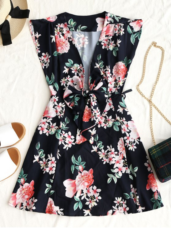فستان مصغر لف طباعة الأزهار ربطة - أسود L