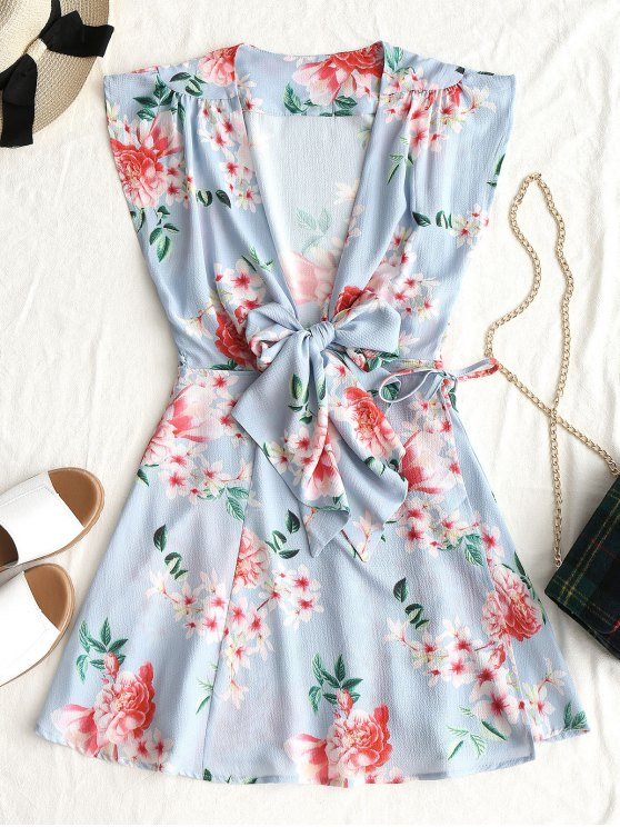 فستان مصغر لف طباعة الأزهار ربطة - أزرق فاتح S