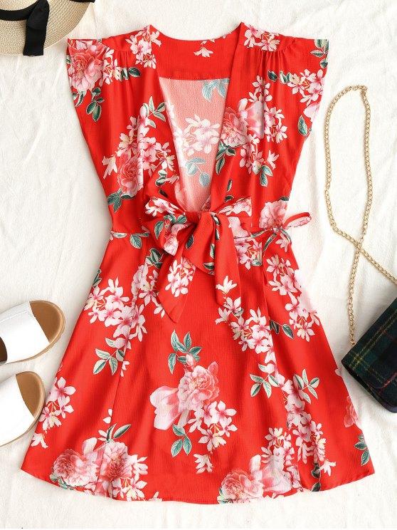 فستان مصغر لف طباعة الأزهار ربطة - أحمر S
