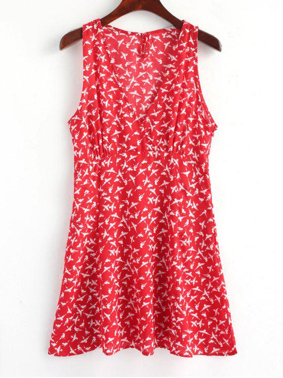 unique Cross Over Birds Side Zip Mini Dress - RED L