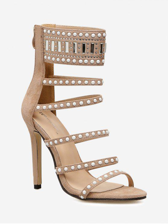 hot Faux Jewel Gladiator Sandals - APRICOT 37