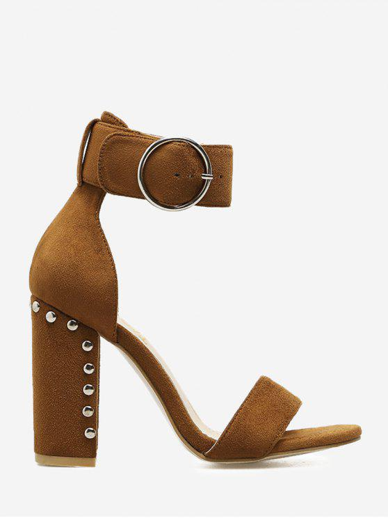 buy Studded Heeled Two-piece Sandals - BROWN 37