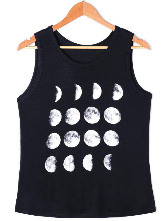 توب سترة طباعة القمر - أسود L