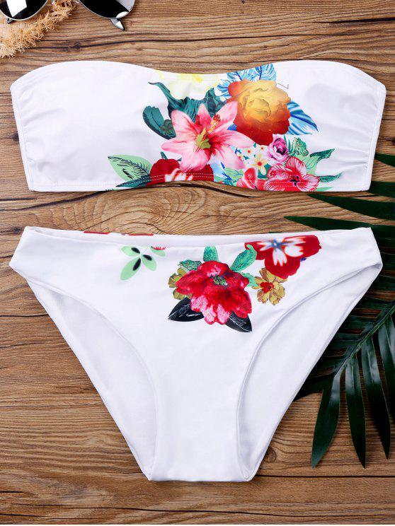 بدلة بيكيني بلا حمالات طباعة الأزهار - أبيض XL