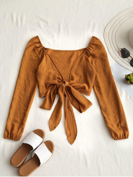 fancy Plunging Neck Tied Bowknot Crop Blouse - EARTHY M