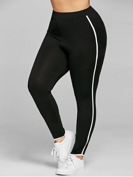Pantalon Moulant Grande Taille à Rayures Latérales - Noir 5XL