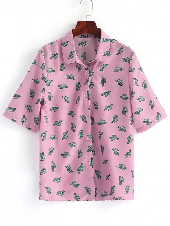 Knopf Oben Kaktus Shirt - pink lila 2XL