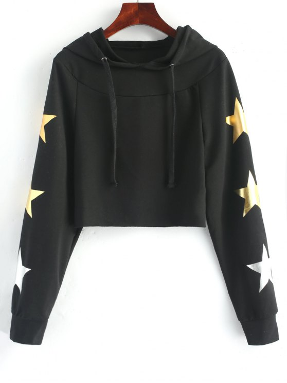 chic Cropped Contrast Star Hoodie - BLACK 2XL
