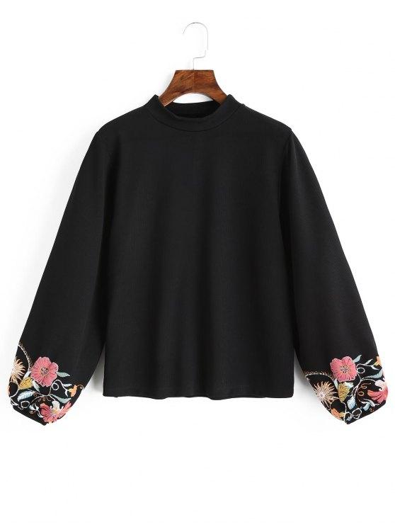 Laterne Ärmel Blumen Sweatshirt - Schwarz S