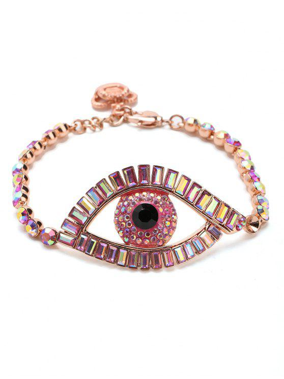 Sparkly Rhinestoned Eye Chain Bracelet - Rosa