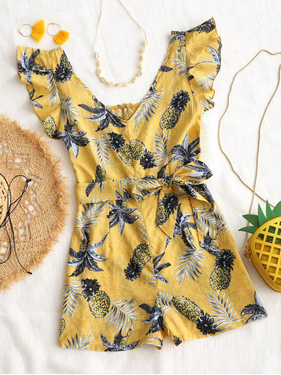 ladies Pineapple Print Cover-up Romper - YELLOW M
