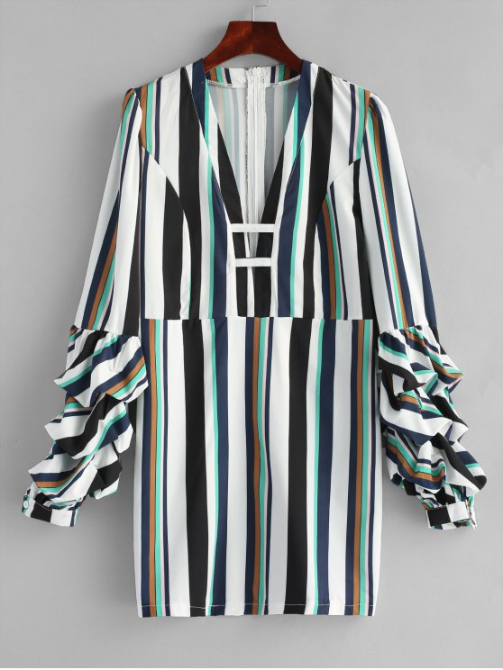 hot Gathered Sleeve Stripes Casual Dress - STRIPE L