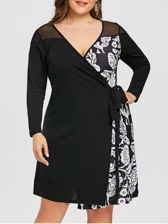 فستان لف الحجم الكبير طباعة الأزهار - أسود 5XL
