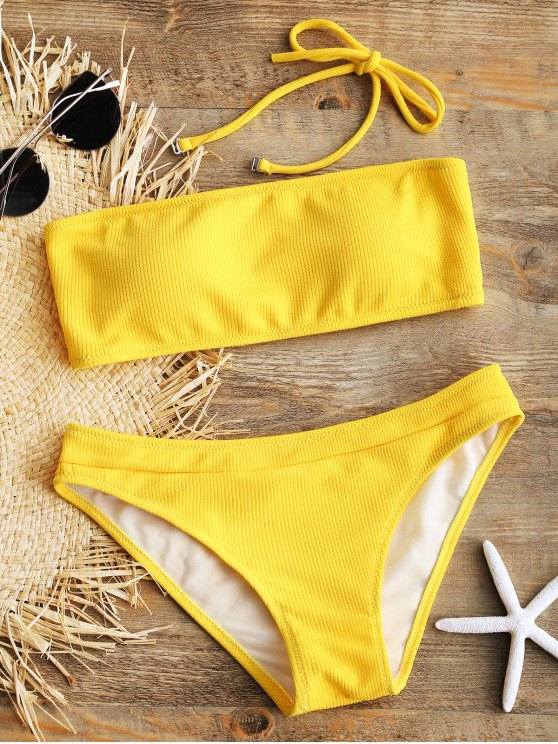 fancy Halter Ribbed Texture Bikini Set - YELLOW M