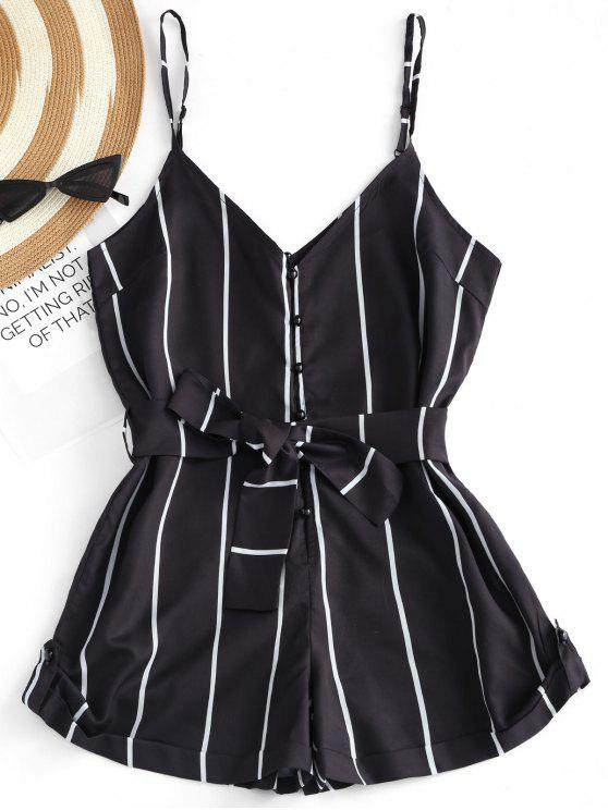 women's Striped Belted Cami Romper - BLACK S