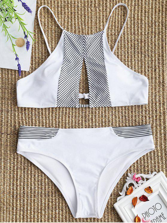 Gepolsterte Schlüsselloch Streifen Bikini-Set - Weiß XL