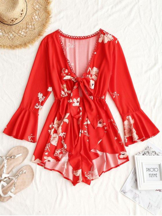 Casaco floral do ilhó do laço - Vermelho L