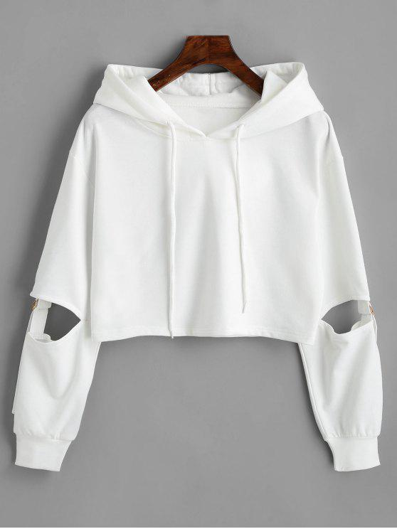 buy Cut Out Sleeve Crop Hoodie - WHITE M