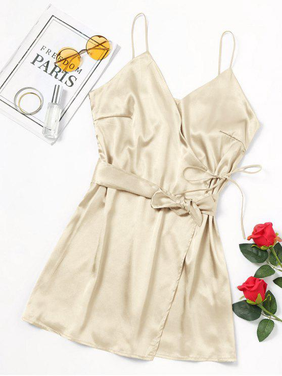 affordable Self Tie Bowknot Belted Cami Dress - CHAMPAGNE S