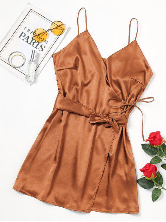 women Self Tie Bowknot Belted Cami Dress - GOLD BROWN S