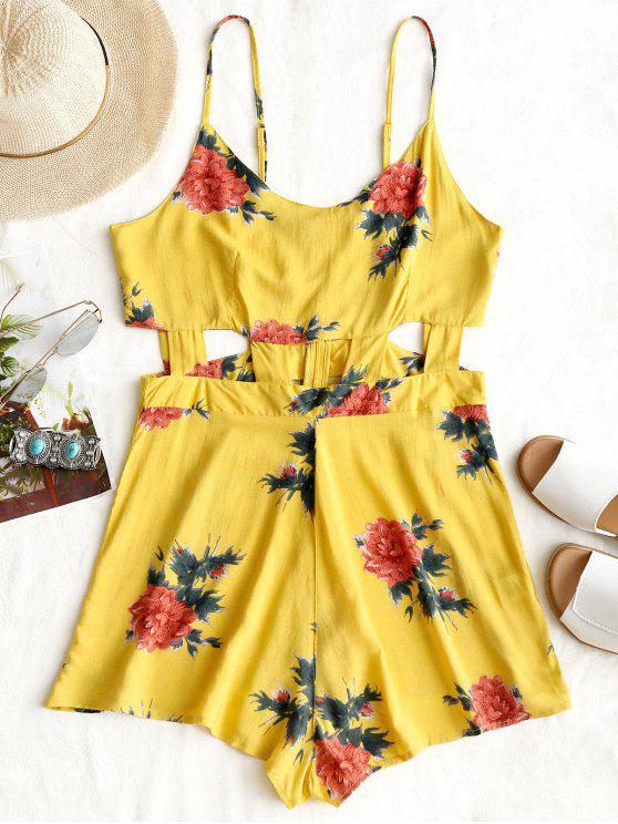 Estampado de flores Cami Cut Out Romper - Amarillo S