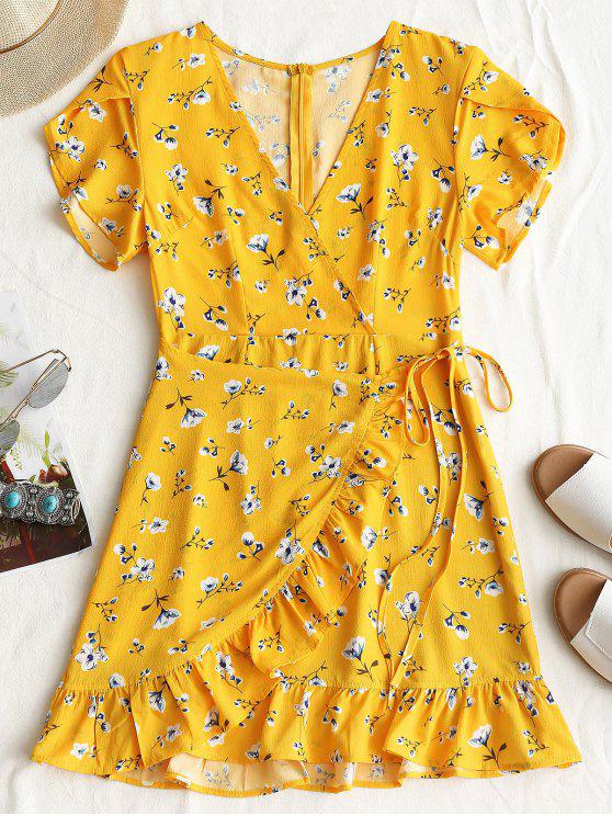 women's Plunging Neck Floral Print Ruffles Dress - YELLOW L