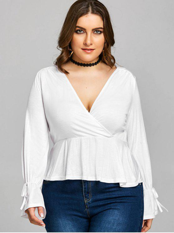 trendy Plus Size Flare Sleeve Plunge Tee - WHITE XL