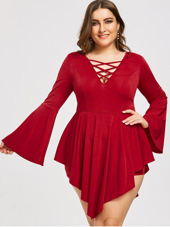 latest Plus Size Flare Sleeve Asymmetric Lattice Romper - WINE RED 4XL