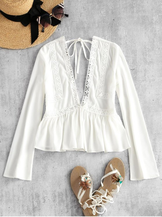Low Cut Back Self Tie Peplum Top - Branco M