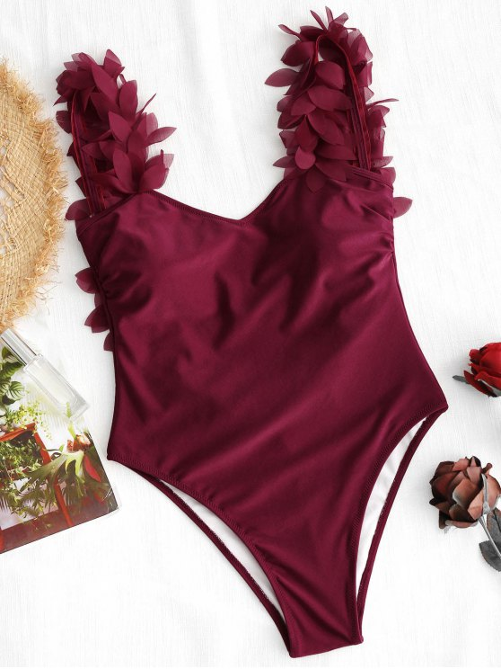 new Stereo Petal One-piece Swimsuit - DEEP RED M