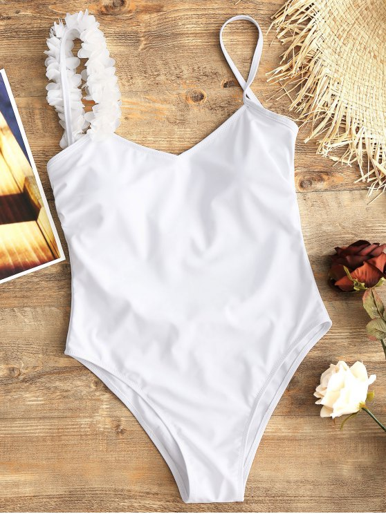 shop Low Back Stereo Flower One Piece Swimsuit - WHITE S