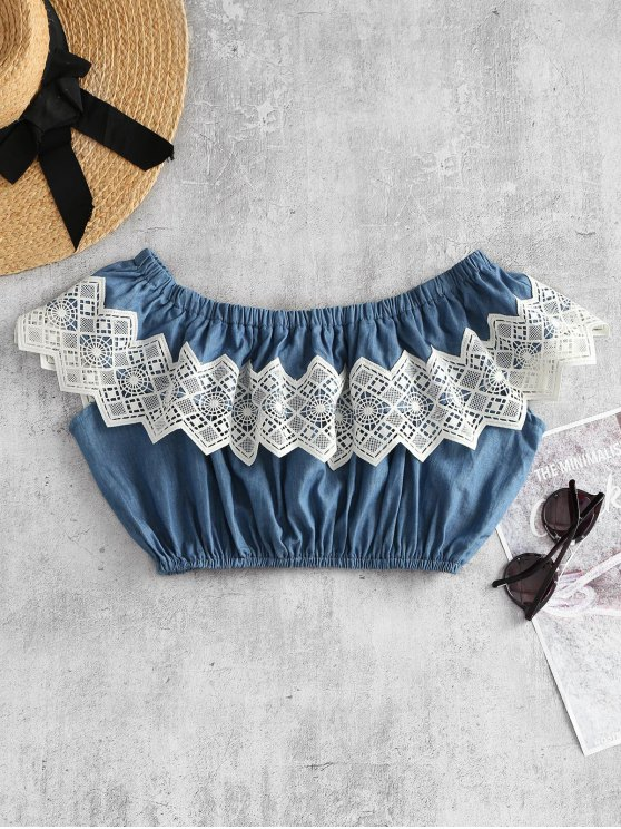 women's Overlay Off Shoulder Chambray Crop Top - BLUE L